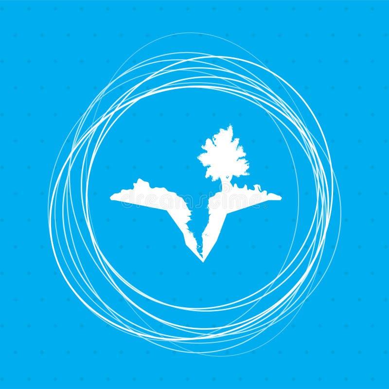 Bedecken Sie Sprung mit Erde, spalten Sie sich in der Ikone auf einem blauen Hintergrund mit abstrakten Kreisen um auf und setzen lizenzfreie abbildung