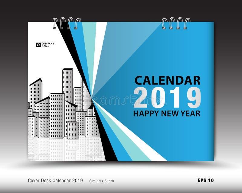 Bedecken Sie Tischkalender für 2019-jährigen Schablonenvektor, Bucheinbandplan, Jahresbericht, Zeitschriftenanzeigen, Geschäftsbr lizenzfreie abbildung
