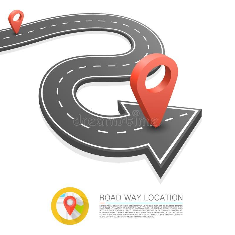 Bedekte weg op de weg, de plaats van de Wegpijl, Vectorachtergrond vector illustratie