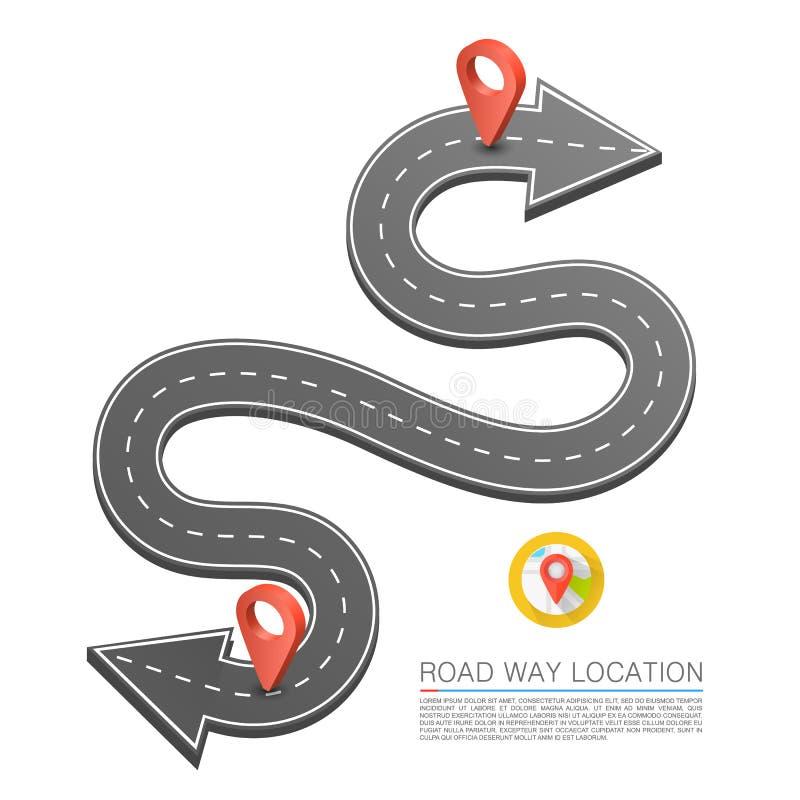 Bedekte weg op de weg, de plaats van de Wegpijl, Windende wegpijl, Vectorachtergrond vector illustratie