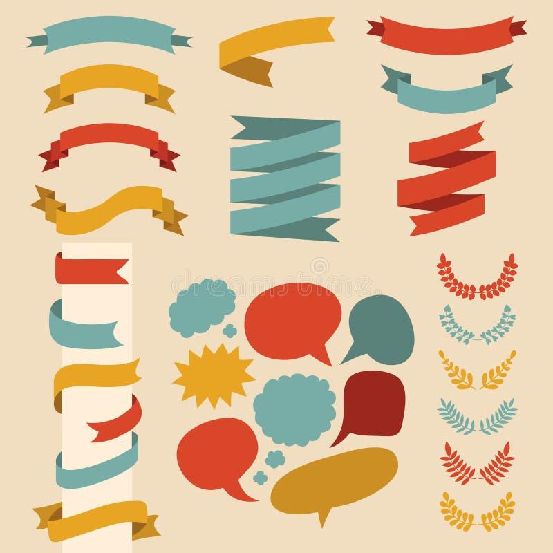 Bedel vectorreeks linten, laurels en toespraakbellen in vlakke stijl royalty-vrije illustratie