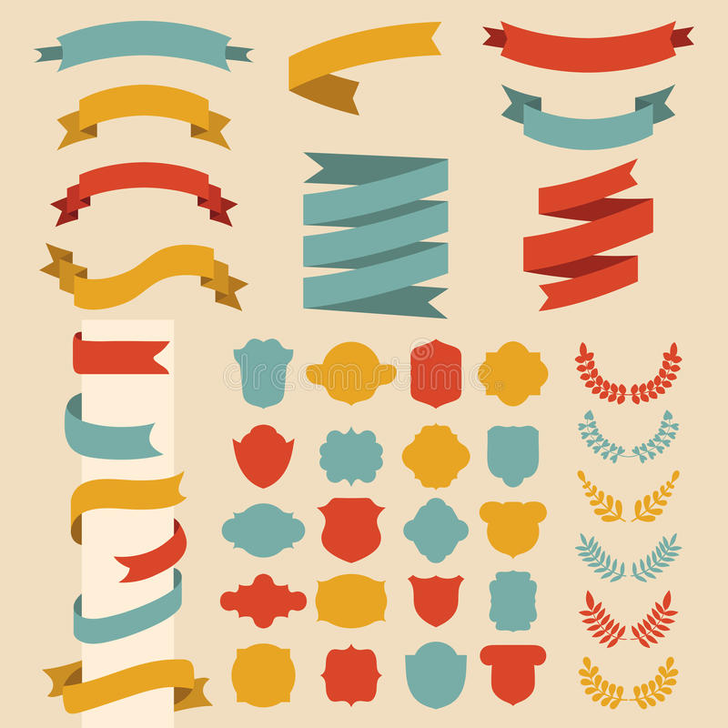 Bedel vectorreeks linten, laurels, kronen en etiketten in vlakke stijl royalty-vrije illustratie