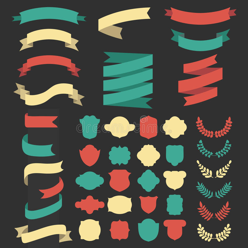 Bedel vectorreeks linten, laurels, kronen en etiketten in vlakke stijl vector illustratie