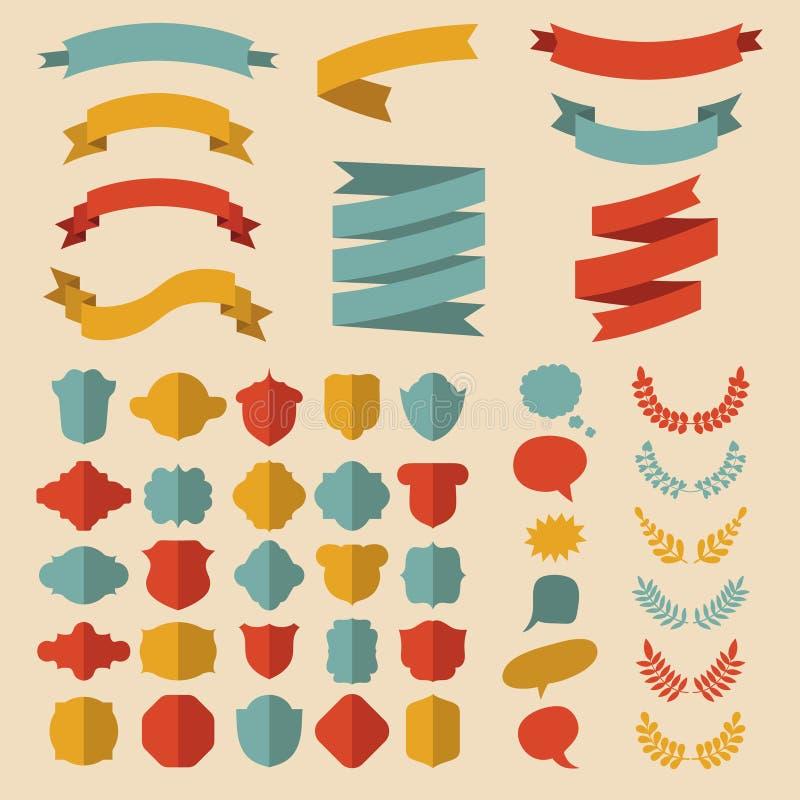 Bedel vectorreeks linten, laurels, kronen, etiketten en toespraakbellen in vlakke stijl vector illustratie