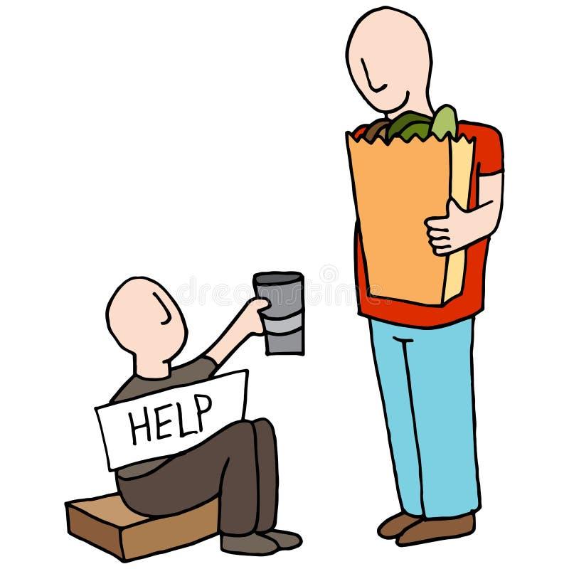 Bedelaar Asking voor Geld van Klant vector illustratie