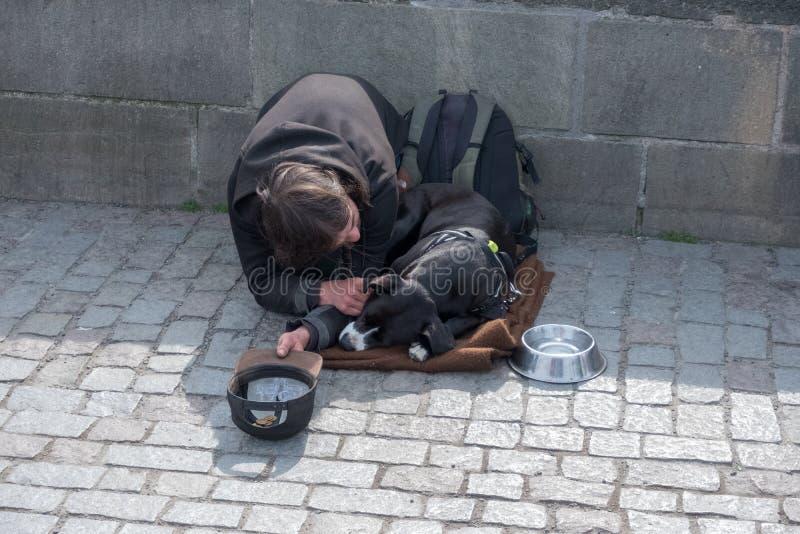 Bedelaar, daklozen met Hond dichtbij Charles Bridge, Praag, Tsjechische republiek stock foto