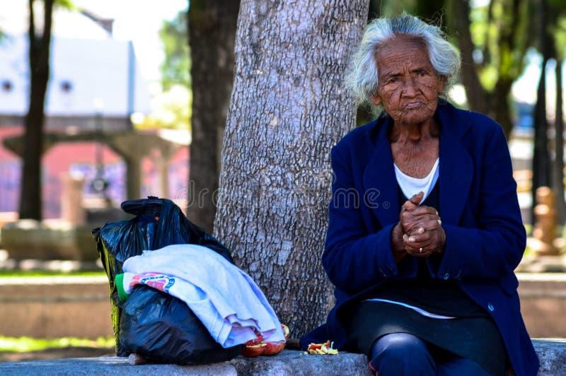 Bedelaar Woman in Mexico stock afbeeldingen