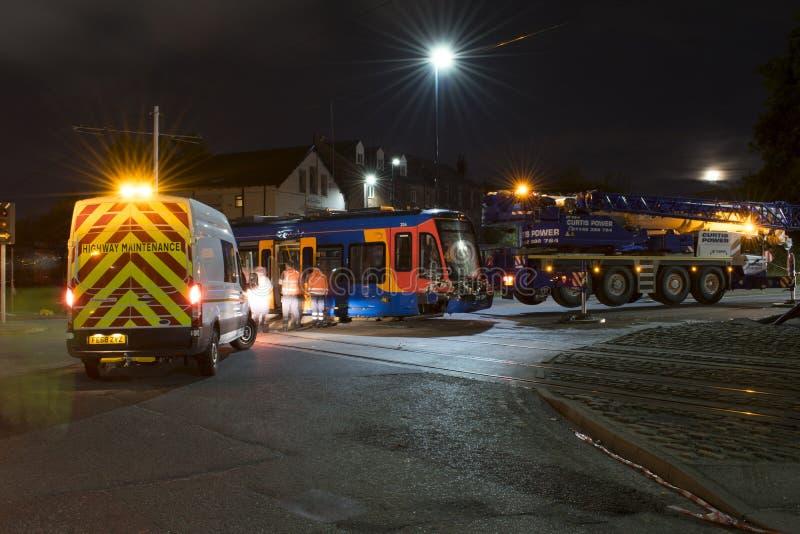 Bedeutender Vorfall Sheffield Stagecoach Train Tram Crashs erklärte wie stockbilder