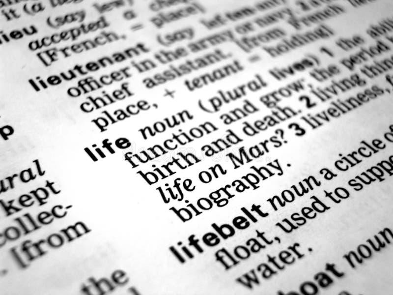 Bedeutung des Lebens stockbilder