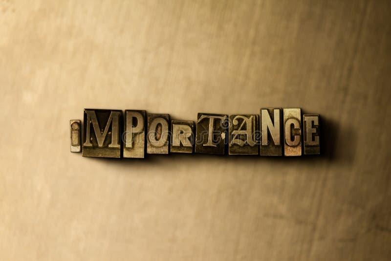 BEDEUTUNG - Nahaufnahme des grungy Weinlese gesetzten Wortes auf Metallhintergrund stock abbildung
