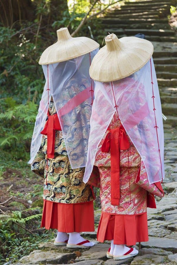 Bedevaart in de Sleep van Kumano Kodo, Japan royalty-vrije stock foto's