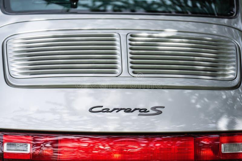 Bedford, Bedfordshire, Reino Unido 2 de junho de 2019 fragmenta de Porsche Carrera cinzento S foto de stock royalty free