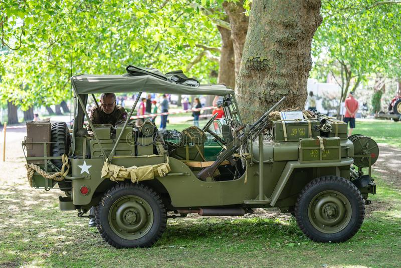 Bedford, Bedfordshire, UK Czerwiec 2 2019 Festiwal automobilizm, Ford GPW 1944, U S Wojsko ciężarówka, Nakazowy rozpoznawanie, po zdjęcia stock