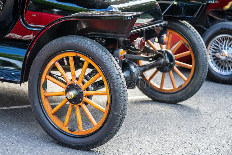 Bedford, Bedfordshire, UK. June 2 2019. Festival of Motoring, fragment of a Vintage Ford Model T Touring 1914 royalty free stock image