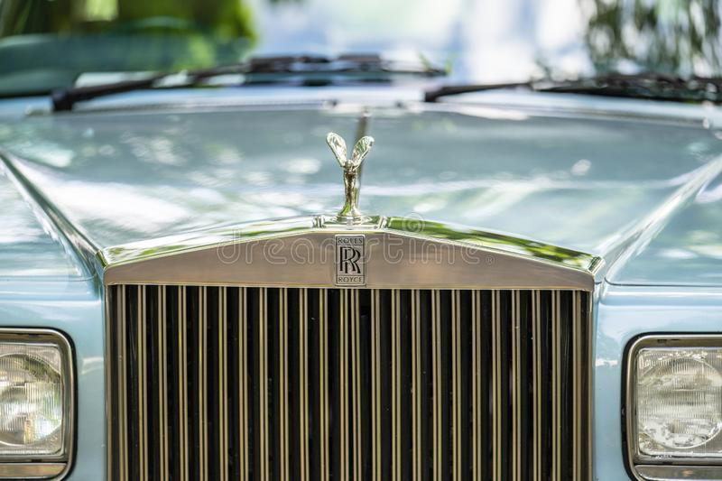 Bedford, Bedfordshire, UK June 2 2019 Fragment of Rolls-Royce. Rolls-Royce Motor Cars Limited is a British luxury automobile maker royalty free stock images