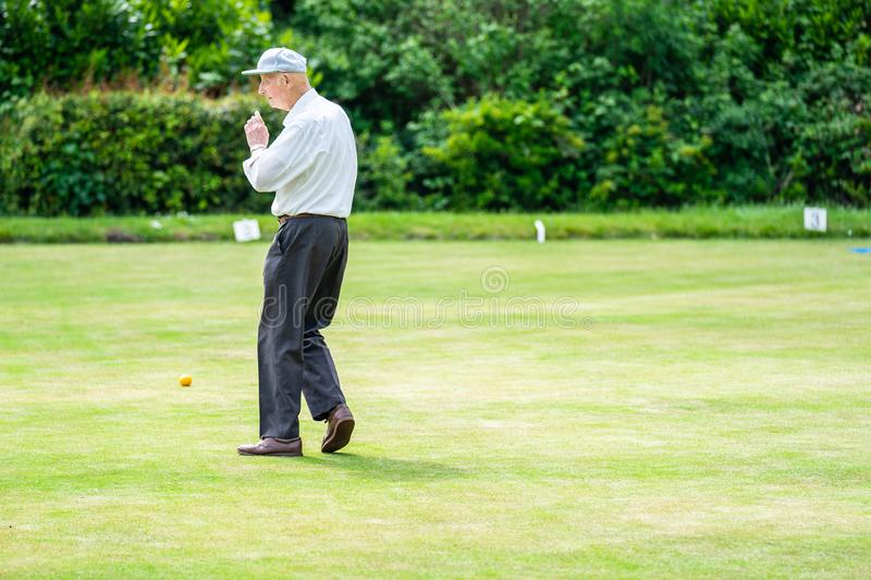 Bedford, Bedfordshire, UK. May 19,2019.Bowls or lawn bowls. Free community event in Bedford park stock photography