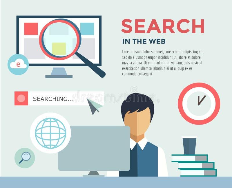 Bediende aan infographic het Werk Bureau, Lijst, Onderzoek royalty-vrije illustratie