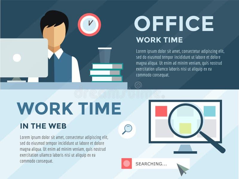 Bediende in infographic bureau Het werk, tijd, loupe en vector illustratie