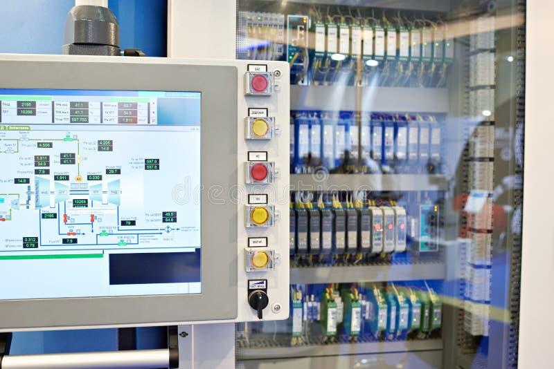 Bedienfeld für automatics von Maschinen und von Pumpen stockfotos