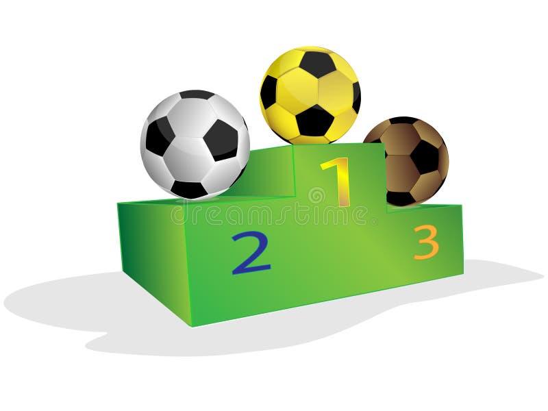 Bedienpult und Fußball stock abbildung