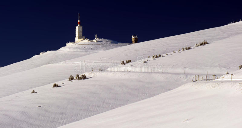 Bedoin in winter. Mont Ventoux south face in winter stock photography