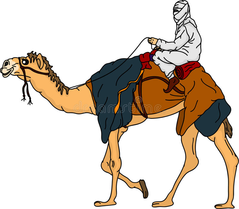 Bedouin. Vector - bedouin riding a camel,isolated on background stock illustration