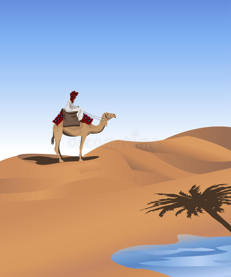 Bedouin. Background illustration with a bedouin and a camel vector illustration