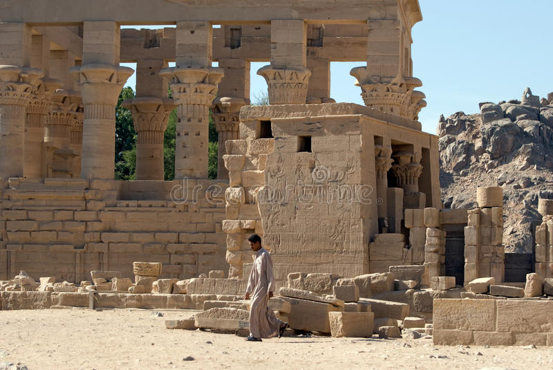 Bedouin bij de Tempel Philae royalty-vrije stock foto's