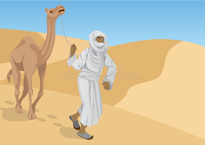 Bedouin with camel. Are walking through the desert vector illustration