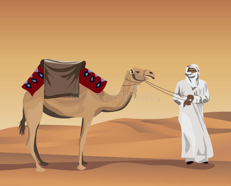 Bedouin and Camel. Background illustration with a bedouin and a camel stock illustration
