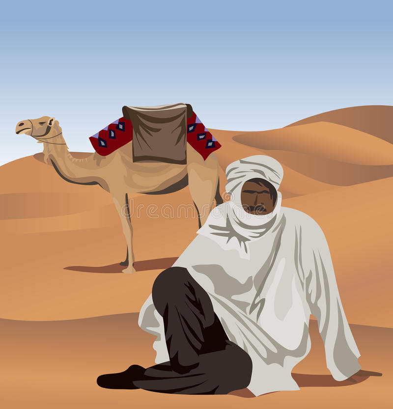 Bedouin and Camel. Background illustration with a bedouin and a camel vector illustration