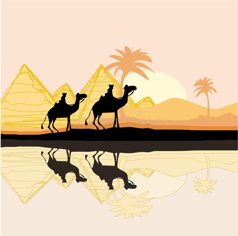 Bedouin camel caravan. In wild africa landscape illustration vector illustration
