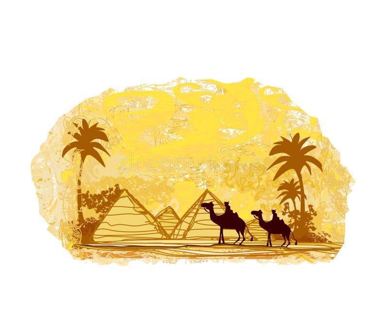 Bedouin camel caravan in wild africa landscape. Illustration royalty free illustration