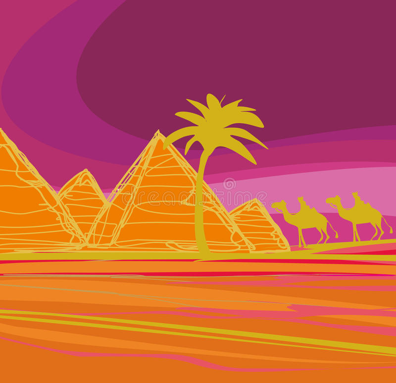 Bedouin camel caravan in wild africa. Landscape illustration vector illustration
