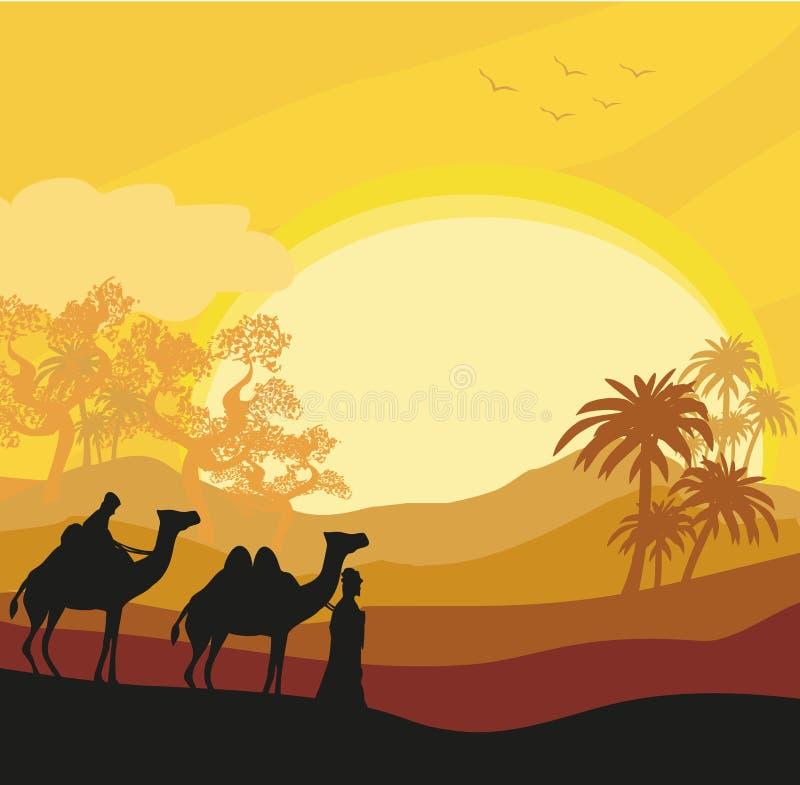 Bedouin camel caravan in wild africa landscape. Vector Illustration royalty free illustration