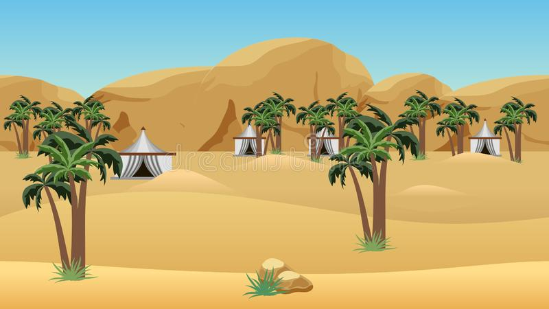 Bedouin camp in desert. Landscape for cartoon or game asset. Parallax layers for game level background.  Vector illustration royalty free illustration