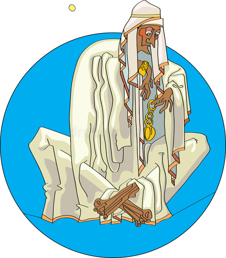 Bedouin with clock. Bedouin sitting in the middle of the desert with clock stock illustration