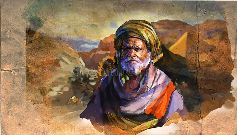 Bedouin. With the desert background royalty free illustration