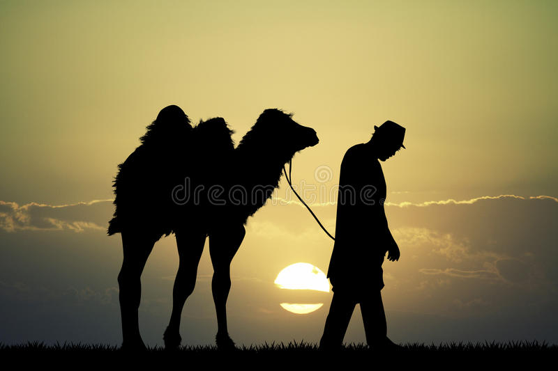 Bedouin in the desert with camel. At sunset vector illustration
