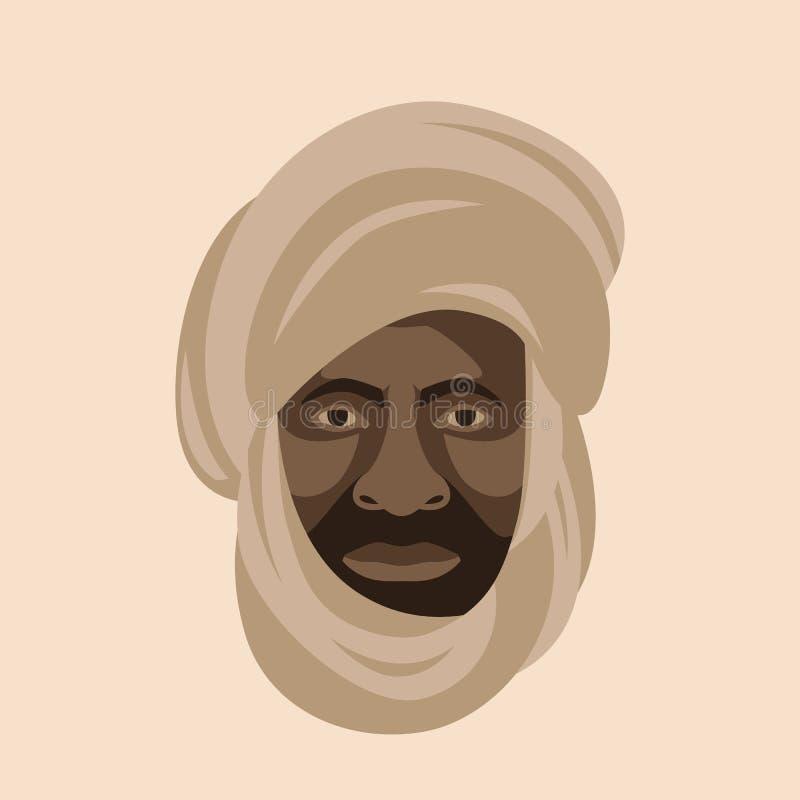 Bedouin face head vector illustration flat style front. Side vector illustration