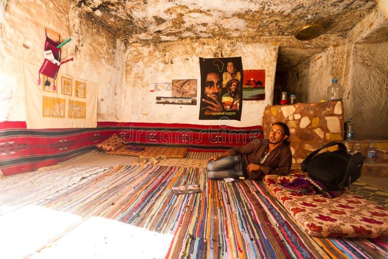 A bedouin in his cave petra jordan editorial stock