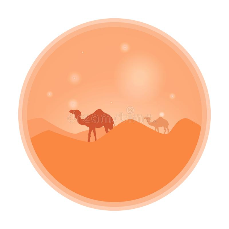 Bedouin leading a caravan of camels in the desert at sunset. Vector sign, emblem royalty free illustration