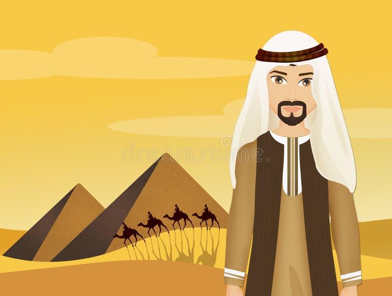 Bedouin man in the desert. Illustration of Bedouin man in the desert vector illustration