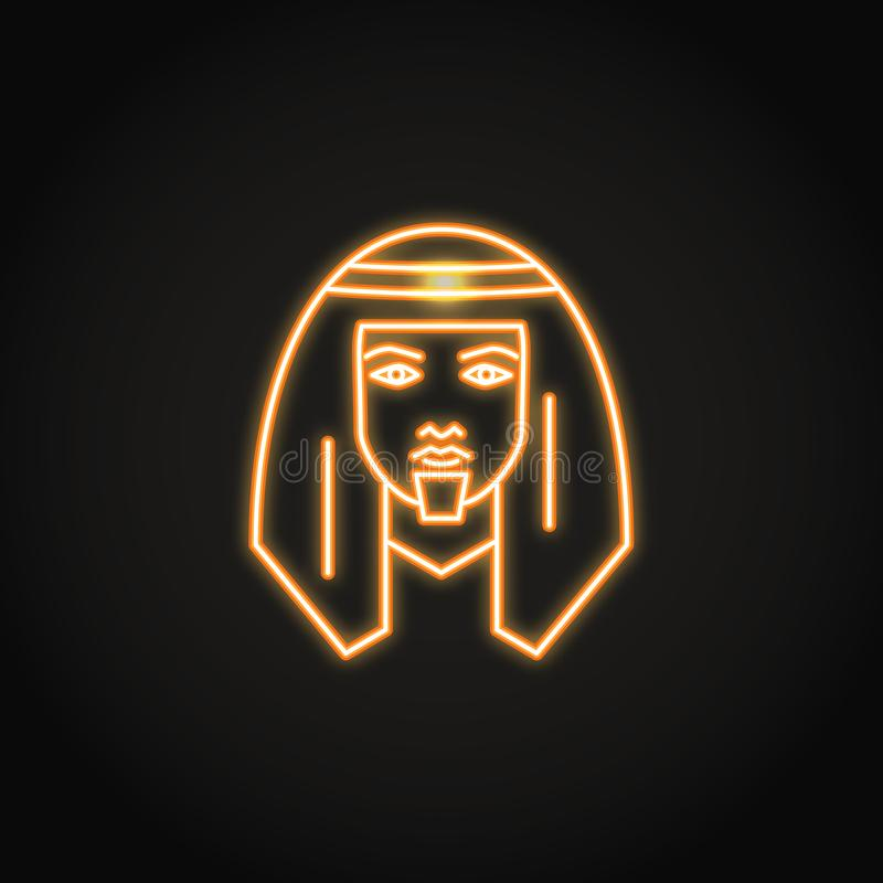 Bedouin man icon in glowing neon style. Middle east human with traditional head scarf symbol. Vector illustration vector illustration