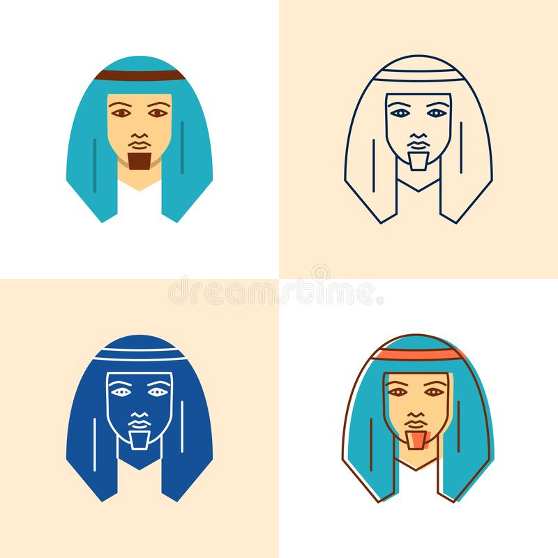 Bedouin man icon set in flat and line style. Middle east human with traditional head scarf symbol. Vector illustration vector illustration