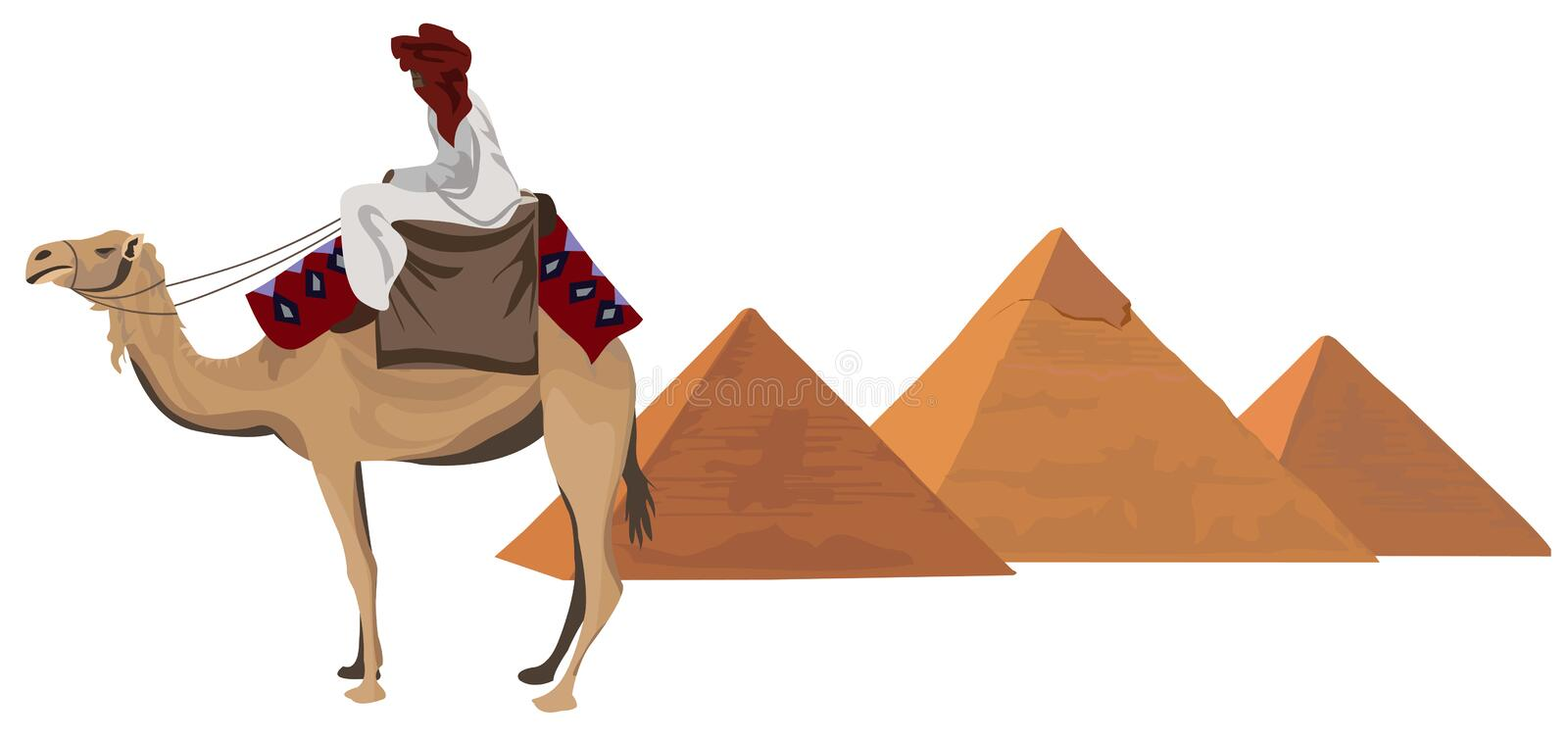 Bedouin and the Pyramids. Illustration with a bedouin and the pyramids of Giza royalty free illustration
