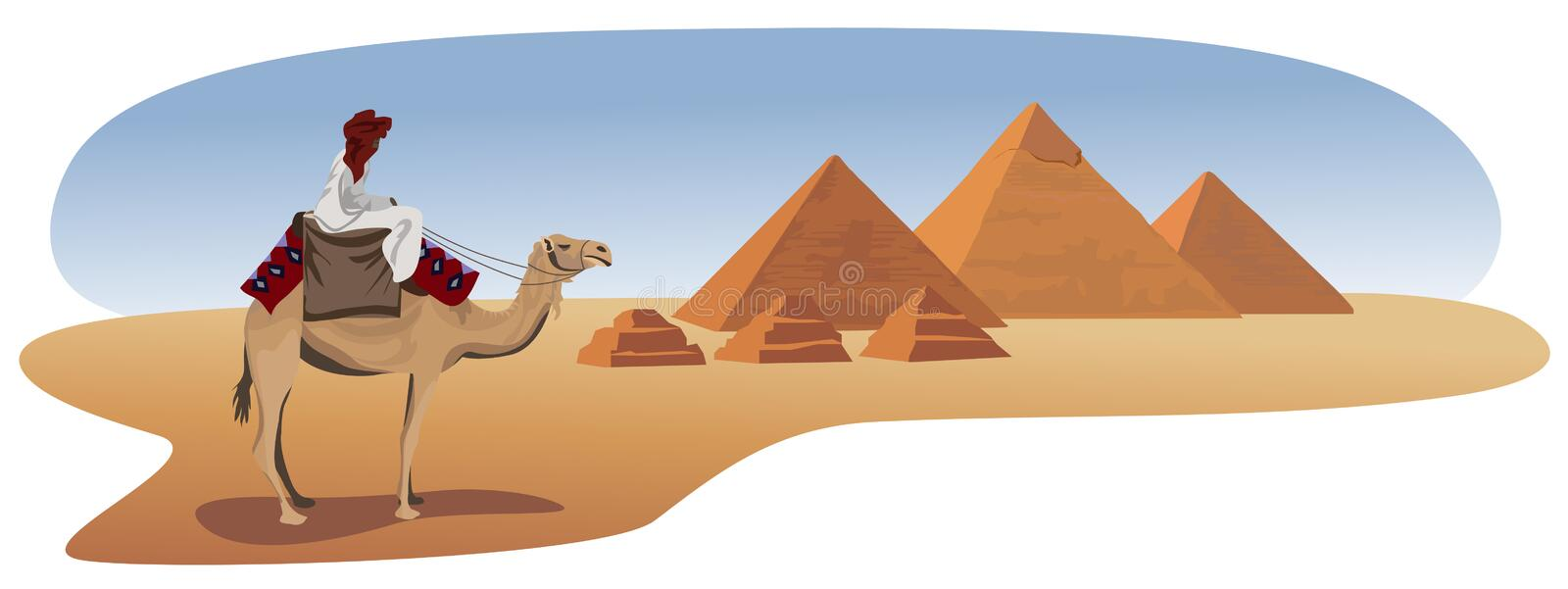 Bedouin and the Pyramids. Illustration with a bedouin and the pyramids of Giza vector illustration
