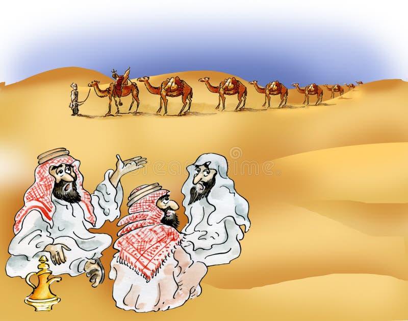 Bedouins and camel caravan in desert stock illustration