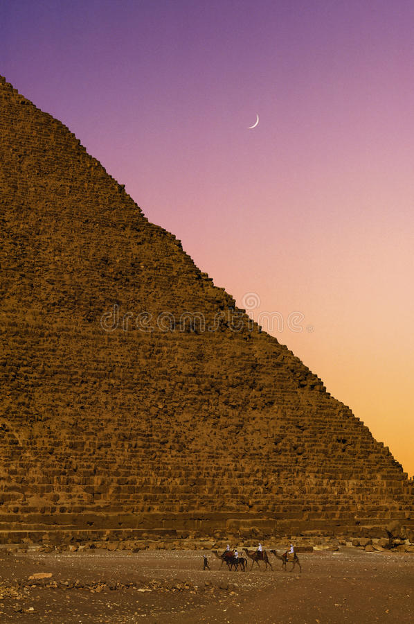 Bedouins Na wielbłądach Przeciw ostrosłupowi W Egipt  fotografia royalty free