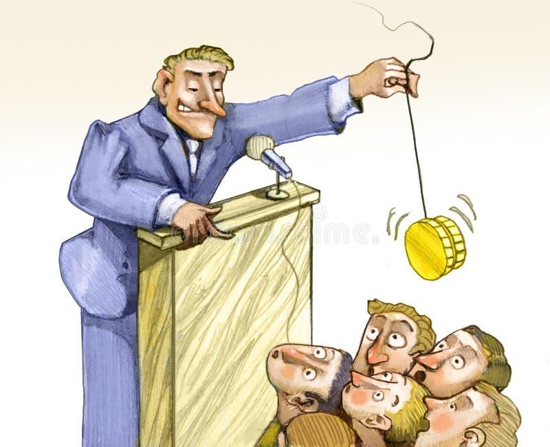Bedrägeri av politiska valpengar övertygar stock illustrationer